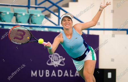 Anastasia Pavlyuchenkova of Russia in action during the first round of the 2021 Abu Dhabi WTA Womens Tennis Open WTA 500 tournament.