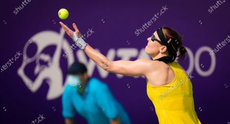 Stock Photo of Lucie Hradecka of the Czech Republic in action during the first round at the 2021 Abu Dhabi WTA Womens Tennis Open WTA 500 tournament.