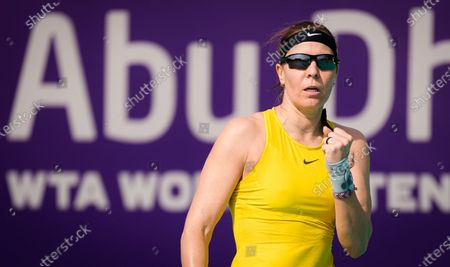 Stock Picture of Lucie Hradecka of the Czech Republic in action during the first round at the 2021 Abu Dhabi WTA Womens Tennis Open WTA 500 tournament.