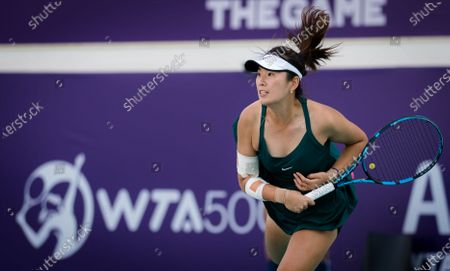 Yang Zhaoxuan of China in action during the first round at the 2021 Abu Dhabi WTA Womens Tennis Open WTA 500 tournament.
