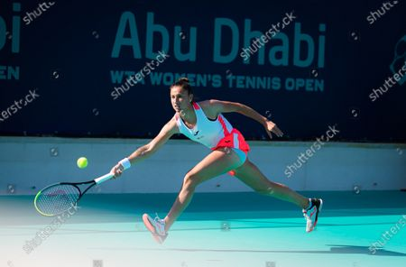 Sara Sorribes Tormo of Spain in action during the first round at the 2021 Abu Dhabi WTA Womens Tennis Open WTA 500 tournament.