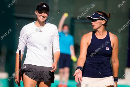 Elena Rybakina & Yaroslava Shvedova of Kazakhstan playing doubles at the 2021 Abu Dhabi WTA Womens Tennis Open WTA 500 tournament.