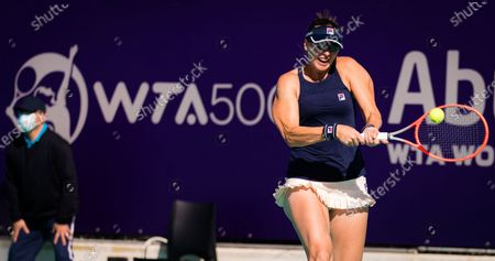 Yaroslava Shvedova of Kazakhstan playing doubles at the 2021 Abu Dhabi WTA Womens Tennis Open WTA 500 tournament.
