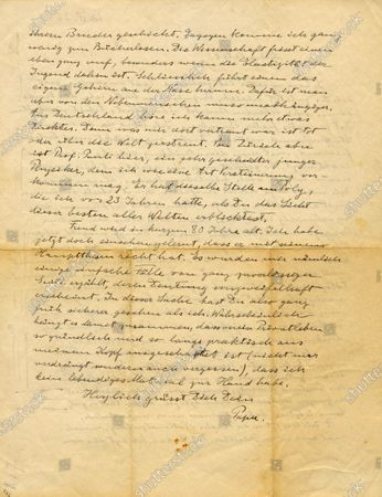 A fascinating letter from Albert Einstein to his son in which he jokingly refers to himself as a 'fossil' has been unearthed.  The genius mathematician wrote to his son Eduard in 1936 to update him on his research at Princeton University, US.  Einstein, then aged 57, informs him he is working with 36 year old Austrian physicist Wolfgang Pauli, who he describes as a 'young, clever physicist' who 'probably sees me as some kind of fossil'.