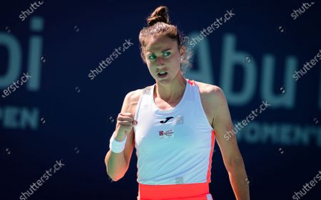 Sara Sorribes Tormo of Spain in action during her third round match at the 2021 Abu Dhabi WTA Womens Tennis Open WTA 500 tournament.
