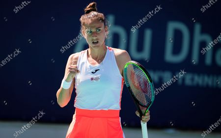 Stock Picture of Sara Sorribes Tormo of Spain in action during her third round match at the 2021 Abu Dhabi WTA Womens Tennis Open WTA 500 tournament.