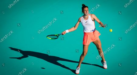 Stock Image of Sara Sorribes Tormo of Spain in action during her quarter final match at the 2021 Abu Dhabi WTA Womens Tennis Open WTA 500 tournament.