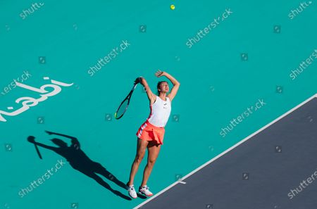 Sara Sorribes Tormo of Spain in action during her quarter final match at the 2021 Abu Dhabi WTA Womens Tennis Open WTA 500 tournament.