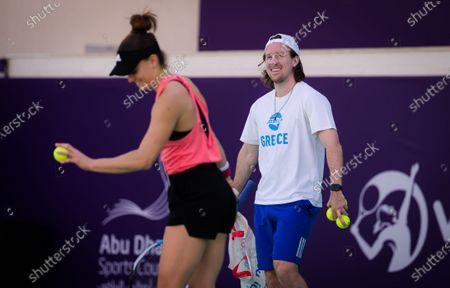 Tom Hill during practice with Maria Sakkari ahead of the 2021 Abu Dhabi WTA Womens Tennis Open WTA 500 tournament.