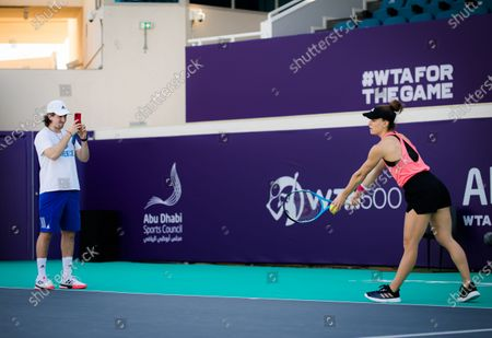 Stock Picture of Tom Hill during practice with Maria Sakkari ahead of the 2021 Abu Dhabi WTA Womens Tennis Open WTA 500 tournament.