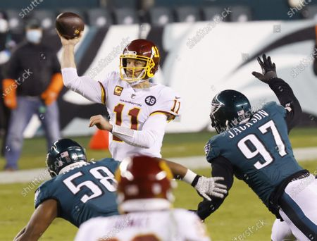 Washington Football Team quarterback Alex Smith throws a pass in the first half against the Philadelphia Eagles in week 17 of the NFL season at Lincoln Financial Field in Philadelphia. Washington defeated the Eagles 20-14 and win the NFC East Division with a record of 7-9.