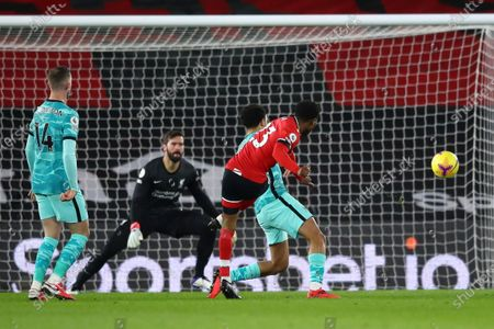 Southampton's Nathan Tella (front, R) in action during the English Premier League soccer match between Southampton and Liverpool in Southampton, Britain, 04 January 2021.