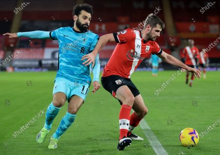 Stock Picture of Jack Stephens (R) of Southampton in action against Mohamed Salah (L) of Liverpool during the English Premier League soccer match between Southampton and Liverpool in Southampton, Britain, 04 January 2021.
