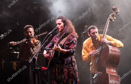 Silvia Perez Cruz (C) performs during a concert at the Festival Actual 2021 in Logrono, Spain, 04 January 2021. Festival Actual 2021 runs from 02 to 06 January 2021 under strict health measures amid the fear of a new wave of COVID-19 coronavirus pandemic.
