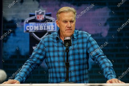Denver Broncos general manager John Elway speaks during a news conference at the NFL football scouting combine in Indianapolis. Elway announced a major change in the Broncos' football operations, saying he will hire a general manager who will report to him but have final say on the draft, free agency and the roster. Elway, who has been GM since 2011, will remain as president of football operations in 2021, the final year of his contract