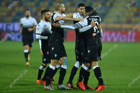 Stock Picture of Salvatore Esposito of Spal celebrating after score the goal