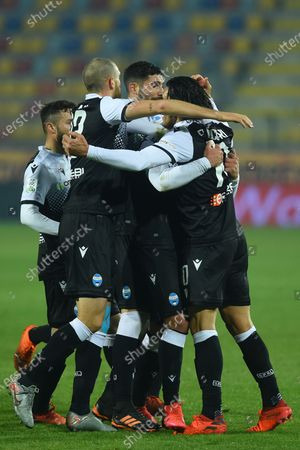 Stock Image of Salvatore Esposito of Spal celebrating after score the goal
