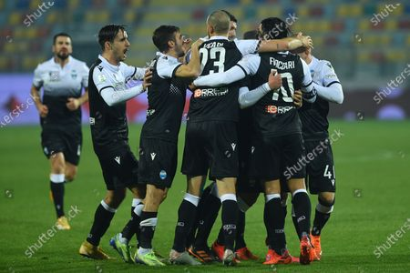 Stock Photo of Salvatore Esposito of Spal celebrating after score the goal