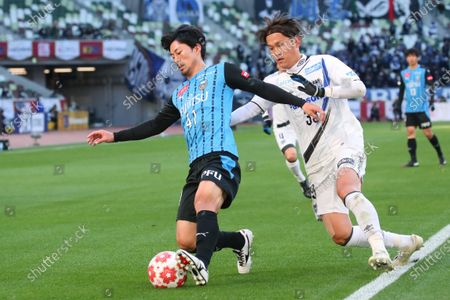Stock Image of (L to R)  Akihiro Ienaga (Frontale),  Takashi Usami (Gamba) - Football / Soccer :  The 100th Emperor's Cup All Japan Football Championship  Final  between Kawasaki Frontale 1-0 Gamba Osaka  at National Stadium, Tokyo, Japan.