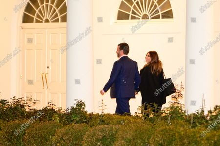 US President Trump's son Donald Trump Jr. (L) and Kimberly Guilfoyle, an advisor to the president, return to the White House in Washington DC, USA, 05 January 2021, after a visit to Dalton, Georgia.