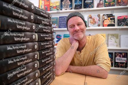 Stock Image of Swedish writer John Ajvide Lindqvist photographed in Stockholm, Sweden