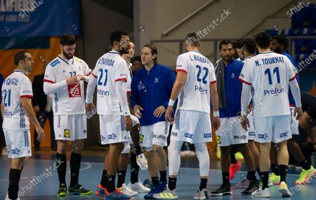 Michael Guigou, Ludovic Fabregas, Adrien Dipanda, Luka Karabatic, Nicolas Tournat, Kentin Mahe, Melvyn Richardson of France looks dejected after the defeat