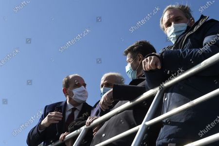 Stock Picture of French Prime Minister Jean Castex (L) makes a boat tour of Toulon's bay with Toulon's mayor Hubert Falco (C), Nice's mayor Christian Estrosi (2-) and president of Paca region Renaud Muselier (R) following the signing of a state-region plan contract, in Toulon, France, 05 January 2021.