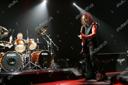 Kirk Hammett & Lars Ulrich of Metallica perform at the Allstate Arena in Rosemont, IL.