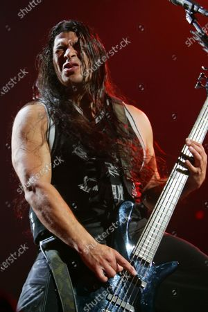 Robert Trujillo of Metallica performs at the Allstate Arena in Rosemont, IL.