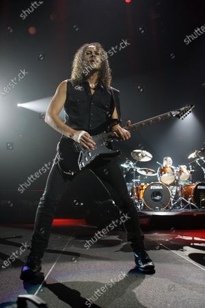Kirk Hammett of Metallica performs at the Allstate Arena in Rosemont, IL.