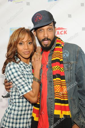 Stock Picture of Holly Robinson Peete and illustrator Shane W. Evans