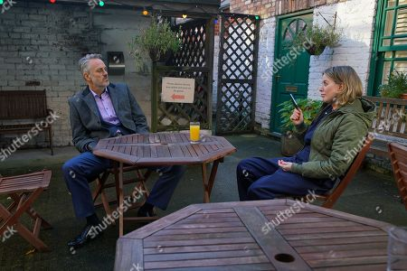 Coronation Street - Ep 10229 & Ep 10230 Friday 22nd January 2021 Ray Crosby, as played by Mark Frost, meets up with Abi Franklin, as played by Sally Carman, in the Rovers' back yard and tells her he's willing to confess to the assault on Faye so long as she deletes the video footage. However Abi suddenly feels dizzy and collapses as Ray grabs her phone.