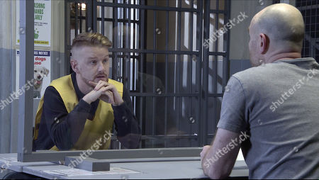 Coronation Street - Ep 10223 & Ep 10224 Friday 15th January 2021  Tim Metcalfe, as played by Joe Duttine, visits Gary Windass, as played by Mikey North, in prison and tells him he knows everything and they need to go to the police.