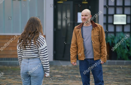 Coronation Street - Ep 10222 Wednesday 13th January 2021 - 2nd Ep Tim Metcalfe, as played by Joe Duttine, quizzes Faye Windass, as played by Elle Leach, about the rucksack and wonders if she knows anything about the attack on Adam. Struggling to keep a lid on her anxiety, Faye denies all knowledge.
