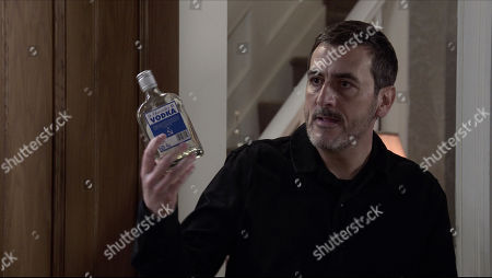 Coronation Street - Ep 10221 Wednesday 13th January 2021 - 1st Ep Carla Connor catches Peter Barlow, as played by Chris Gascoyne, taking a swig from a bottle. At her wit's end she pleads with Peter to reconsider.