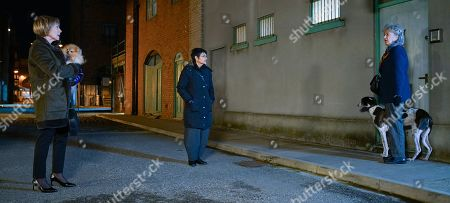Stock Image of Coronation Street - Ep 10229 & Ep 10230 Friday 22nd January 2021 As Elaine, as played by Paula Wilcox, and Yasmeen, as played by Shelley King, take Elaine's chihuahua, Tinkerbell, for a walk Evelyn Plummer, as played by Maureen Lipman, makes derogatory remarks about silly little dogs.