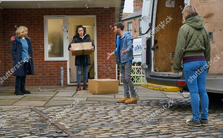 Stock Picture of Coronation Street - Ep 10225 Monday 18th January 2021 - 1st Ep David Platt, as played by Jack P Shepherd, Shona Platt, as played by Julia Goulding, and Gail Rodwell, as played by Helen Worth, pack up the house, dreading their move.