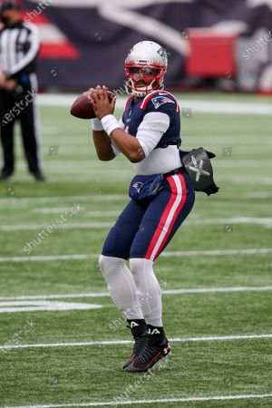 Stock Image of New England Patriots quarterback Cam Newton (1) prior to an NFL football game against the New York Jets, in Foxborough, Mass