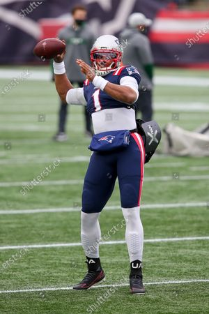 New England Patriots quarterback Cam Newton (1) prior to an NFL football game against the New York Jets, in Foxborough, Mass