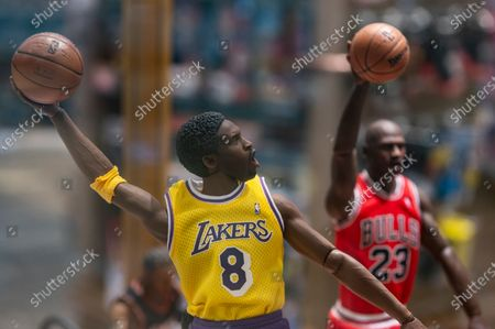 Sport basket NBA fan action figures of Lakers Kobe Bryant and Chicago Bulls Michael Jordan seen at a store in Hong Kong.