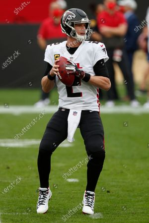 Atlanta Falcons quarterback Matt Ryan (2) looks to throw a pass against the Tampa Bay Buccaneers during an NFL football game, in Tampa, Fla. The Buccaneers won the game 44-27