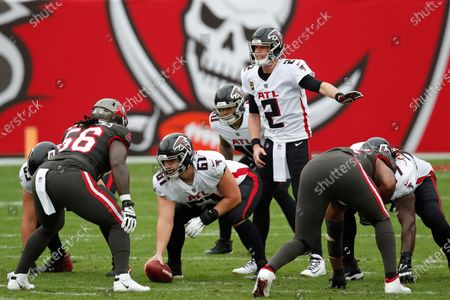 Atlanta Falcons quarterback Matt Ryan (2) looks over the Tampa Bay Buccaneers defense during an NFL football game, in Tampa, Fla. The Buccaneers won the game 44-27