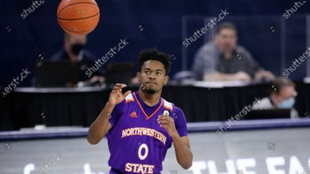 Stock Picture of Northwestern State guard CJ Jones receives the ball during the second half of an NCAA college basketball game against Gonzaga in Spokane, Wash