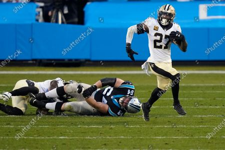 New Orleans Saints strong safety Malcolm Jenkins (27) runs against the Carolina Panthers during an NFL football game in Charlotte, N.C