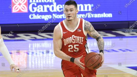 Ohio State forward Kyle Young (25) plays against Northwestern during an NCAA college basketball game, in Evanston, Ill