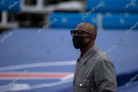 "Former NFL wide receiver Chad ""Ochocino"" Johnson in the stands before an NFL football game between the Buffalo Bills and the Miami Dolphins, in Orchard Park, N.Y"