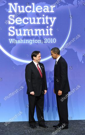 United States President Barack Obama and Dan Meridor, Deputy Prime Minister and Minister of Intelligence and Atomic Energy of Israel