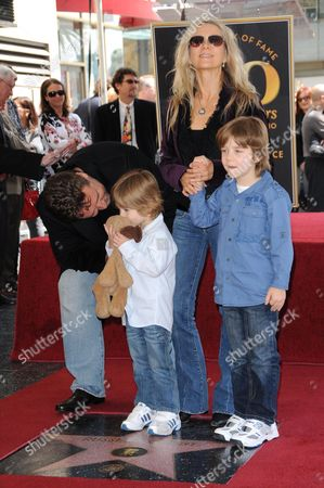 Russell Crowe, Danielle Spencer and sons Tennyson and Charlie