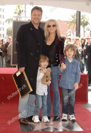 Russell Crowe, wife Danielle Spencer, sons Charles Spencer Crowe & Tennyson Spencer Crowe