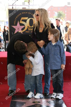 Stock Photo of Russell Crowe, Danielle Spencer, Tennyson Crowe and Charlie Crowe